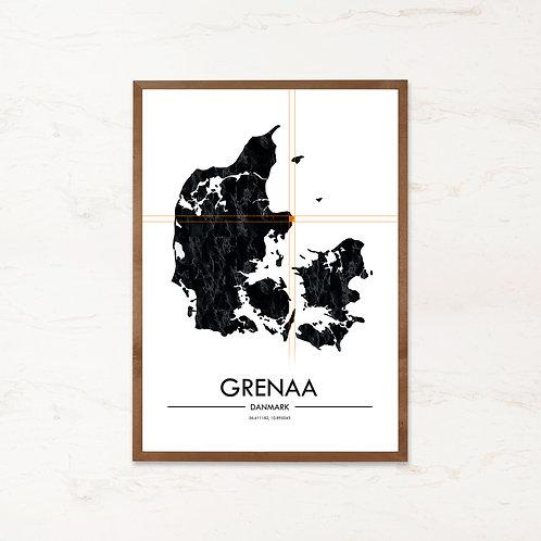 Grenaa plakat | Plakater med Danmarkskort fra IMAGI.dk