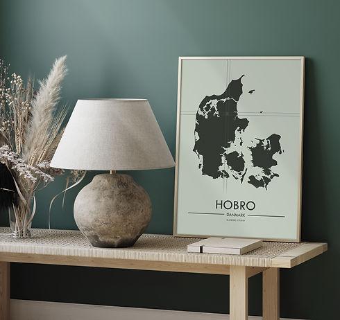 Danmarkskort med Hobro fra Plakatio