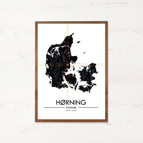 Hørning plakat   Plakater med Danmarkskort fra IMAGI.dk