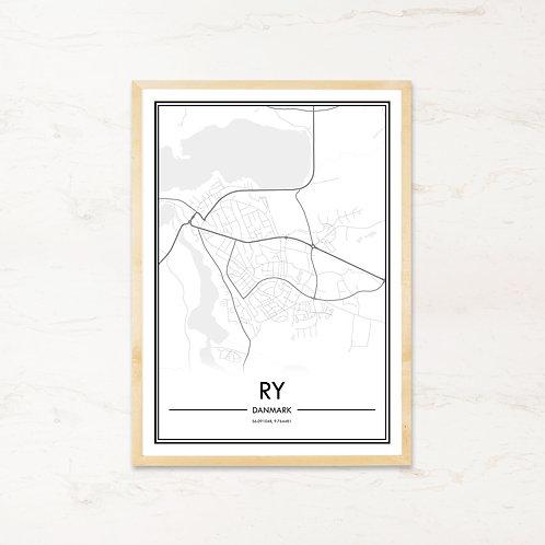 Ry - Plakat af bykort