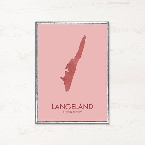 Langeland plakat i pink farve - Plakater af danske øer fra IMAGI.dk