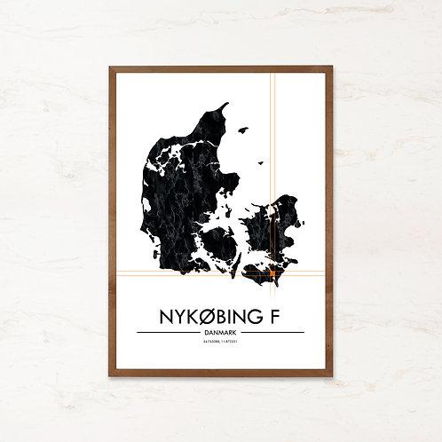 Nykøbing Falster plakat | Plakater med Danmarkskort fra IMAGI.dk
