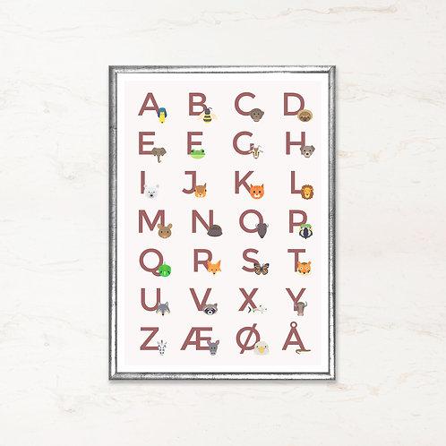 Alfabet plakat - Rød
