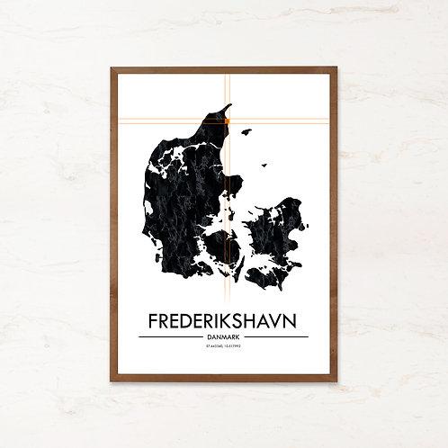 Frederikshavn plakat   Plakater med Danmarkskort fra IMAGI.dk