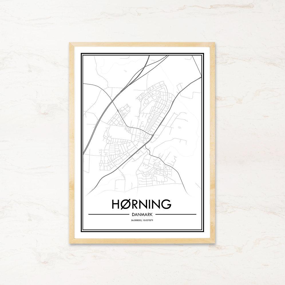 Horning Plakat Af Bykort Kob Billige Byplakater Pa Imagi Dk