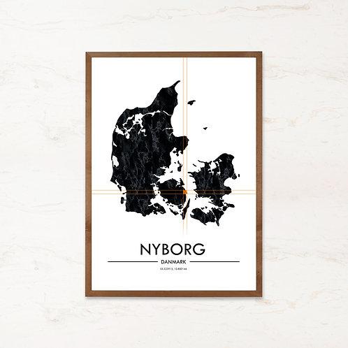 Nyborg plakat | Plakater med Danmarkskort fra IMAGI.dk