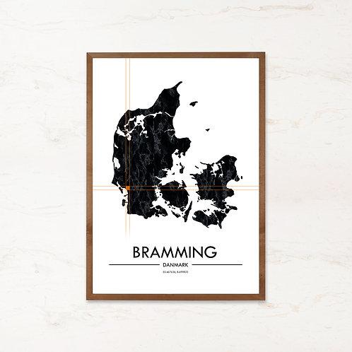 Bramming plakat - Danmarkskort fra IMAGI.dk