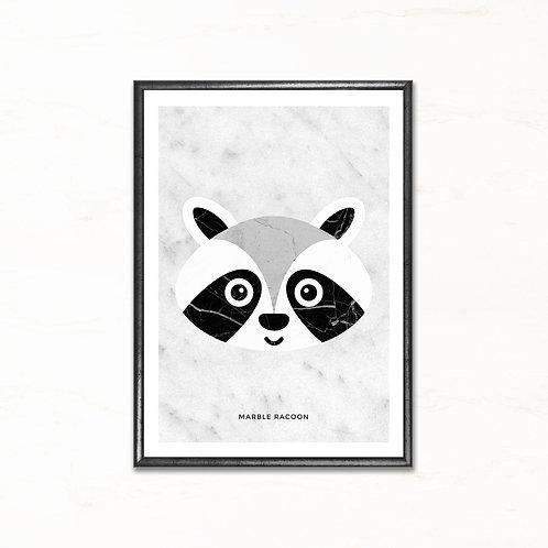 Vaskebjørnen - plakat med marmormotiv