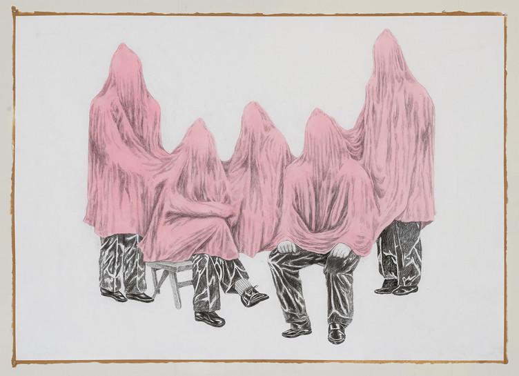 가족사진, 장지에 연필과 아크릴, 130x163cm, 2016