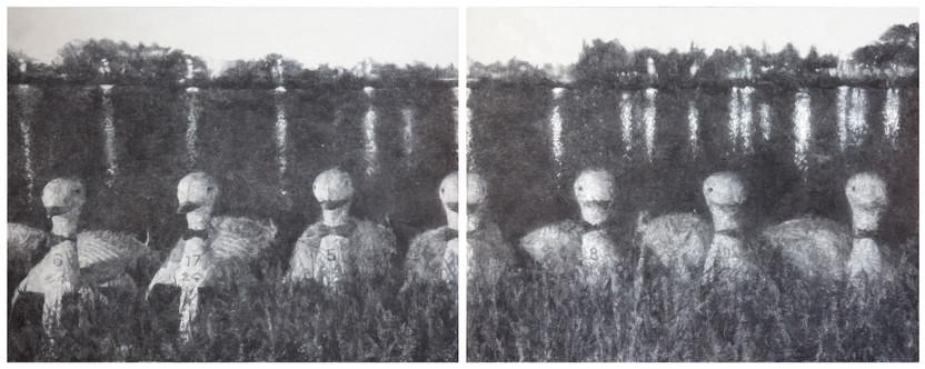 녹색의 이미지, charcoal, conte on korean paper, 130x330cm, 2015