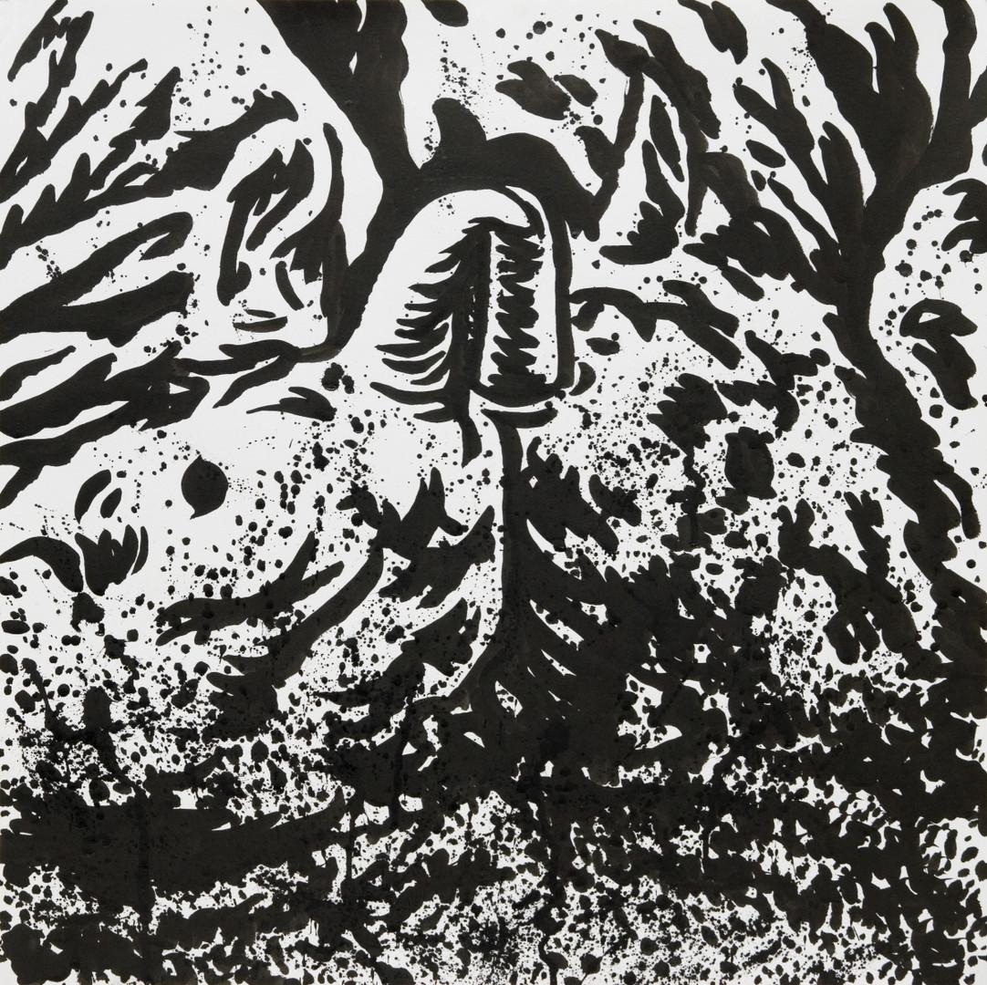 흑곰과해성x4, 54X54cm, 켄트지에 먹, 2016
