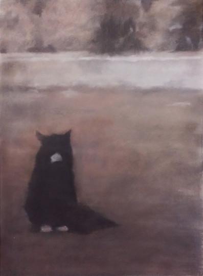 밤거리 1, color charcoal on  paper, 76x56cm, 2015