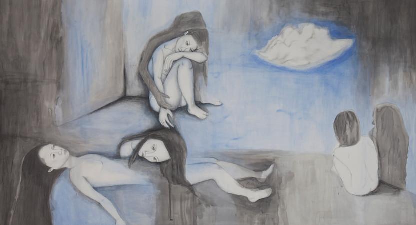 휼륭한구름, 종이위에 펜과청묵, 200x150cm, 2009