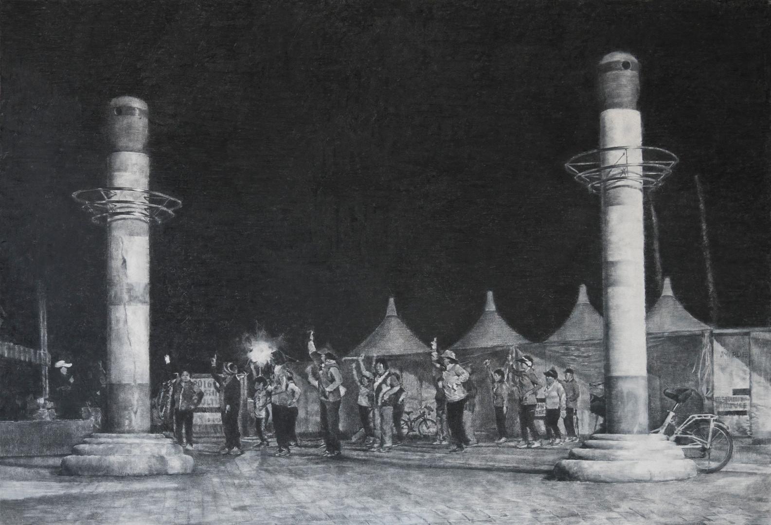 '새벽의 축제', 장지에 목탄, 130x190cm, 2017