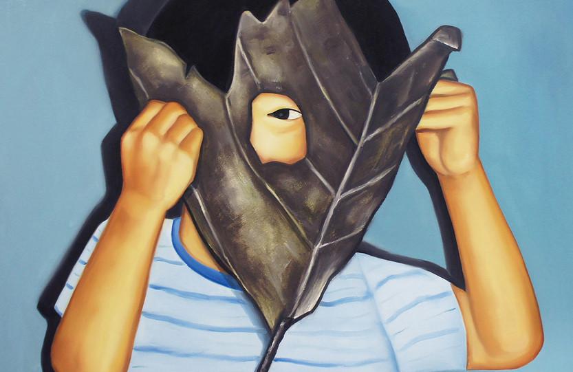 나뭇잎 가면(Leaf mask), oil&oilpastel on canvas, 91x91cm, 2018