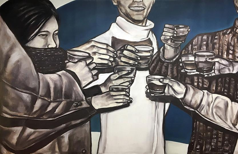 건배(Cheers), oil&oilpastel on canvas, 89.5x145.5cm, 2017