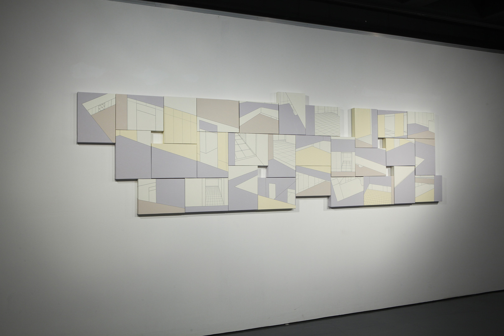 Reminiscent#2754 (기억을그리다#1_2754), Acrylic & Line-tape oncanvas, 29pieces, each 33.4 x24.2 x 4(cm), 2011, 작가소장