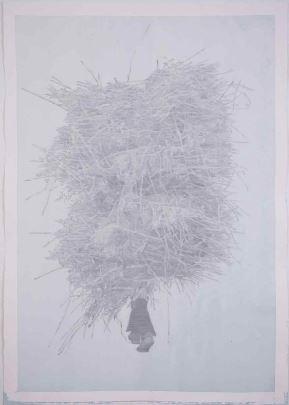 건초더미를 들고있는 사람2, 판화지에 아크릴, 흑연, 109.5x79.5cm, 2018