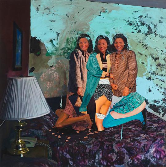Room. D. 9511, 120 x 120cm, 천 위에 아크릴, 유화, 부분 폴리 실크 스크린, 2015