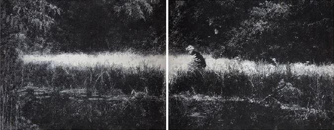 녹색의 이미지(the canal still cut), conte on Korean paper, 130x330cm, 2015