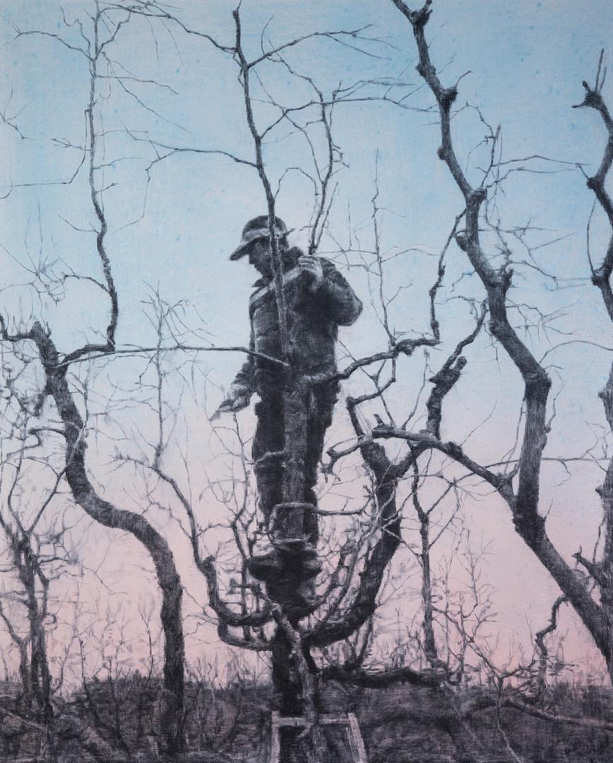 풍경을 만드는 사람-3, 장지에목탄, 아크릴, 162x135cm, 2018