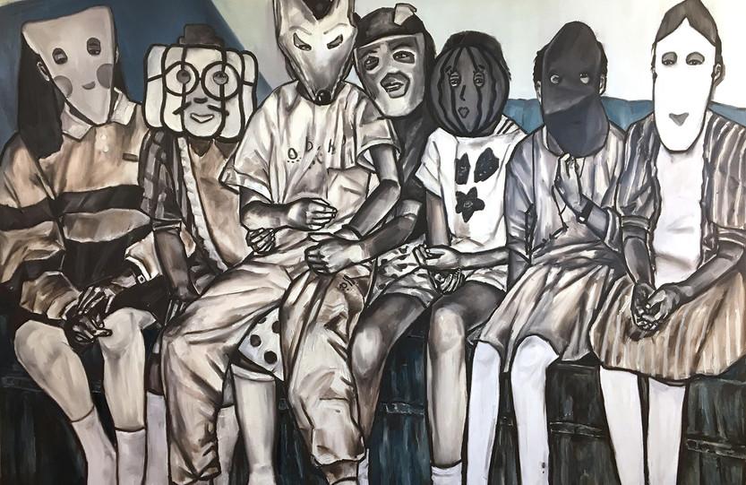 가면놀이(Mask Play), oil&oilpastel on canvas, 130.3x193.9cm, 2017
