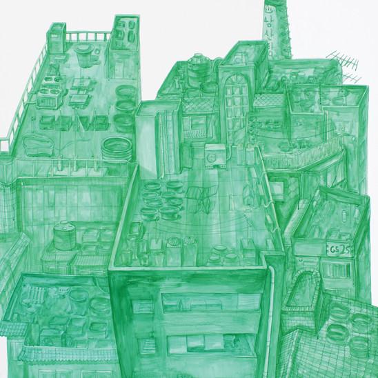 옥상 정원, 캔버스 위에 아크릴 물감, 120x120cm, 2013
