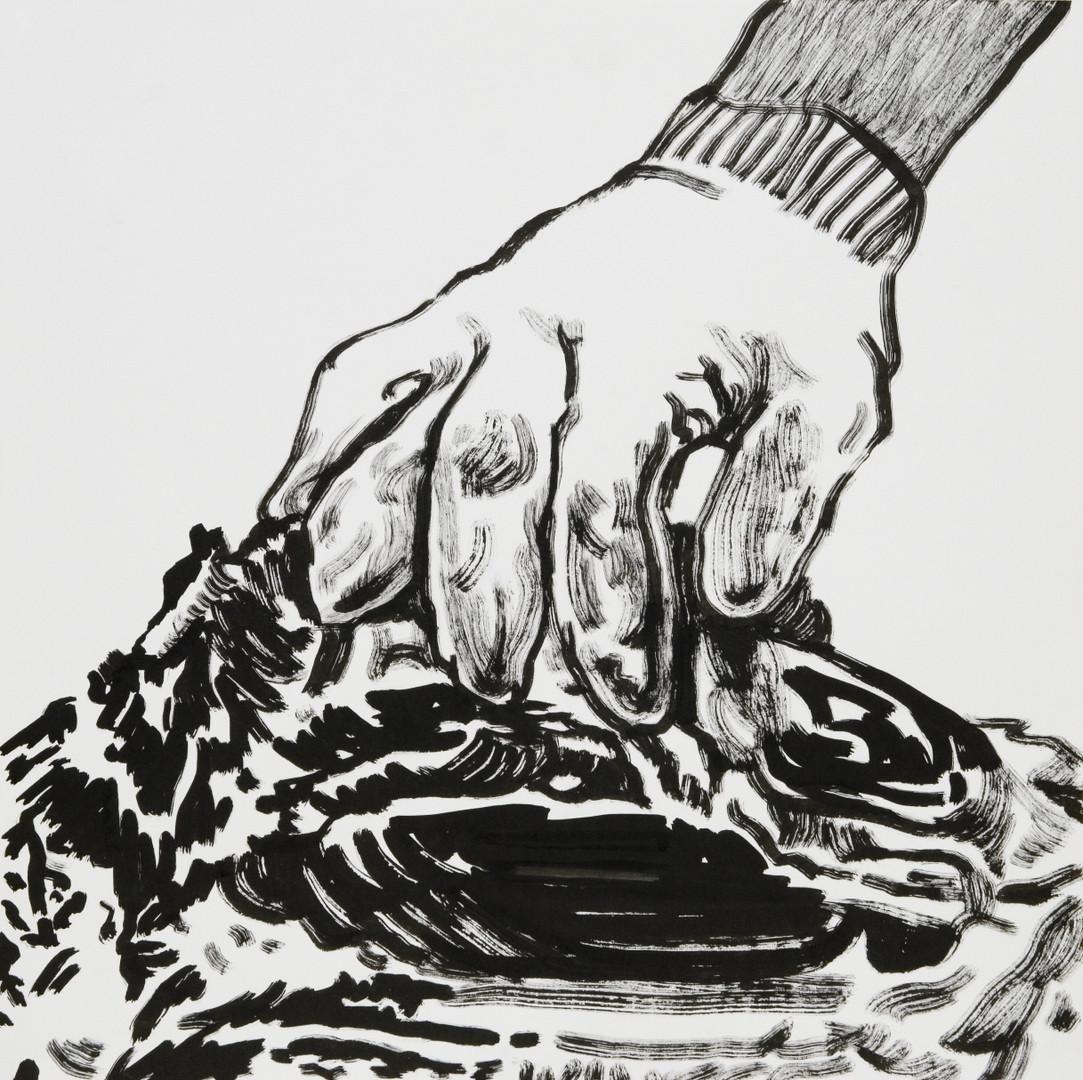 살코기, 48X48cm, 켄트지에 먹, 2016