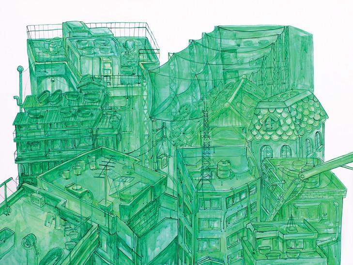 옥상 정원, 캔버스 위에 아크릴 물감, 90x117cm, 캔버스 위에 아크릴 물감, 90x117cm, 2015