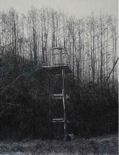 the tower, 장지에 목탄, 170x130cm, 2016