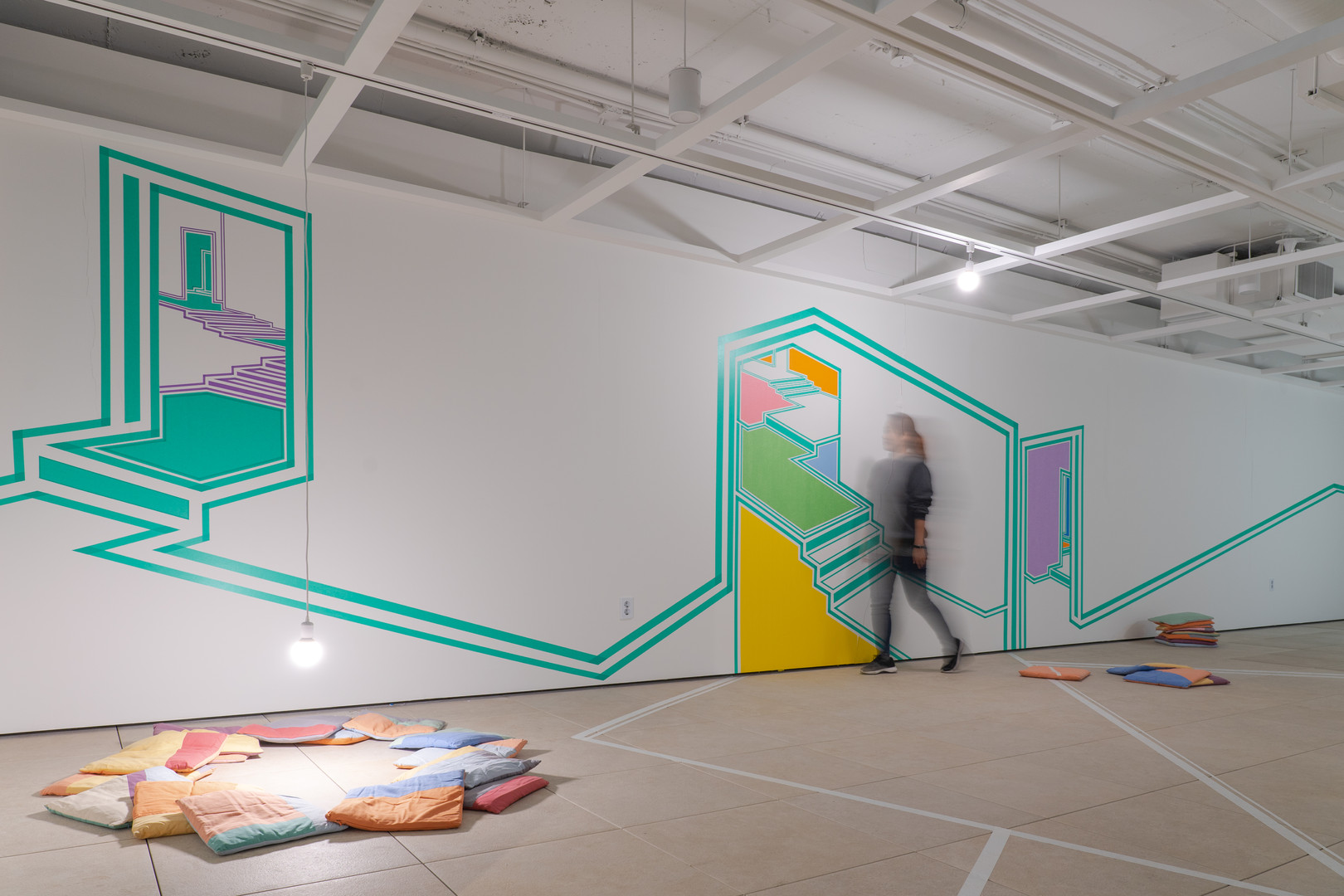Curious mapping, variable installation, paintings & walldrawing with tape, 2018