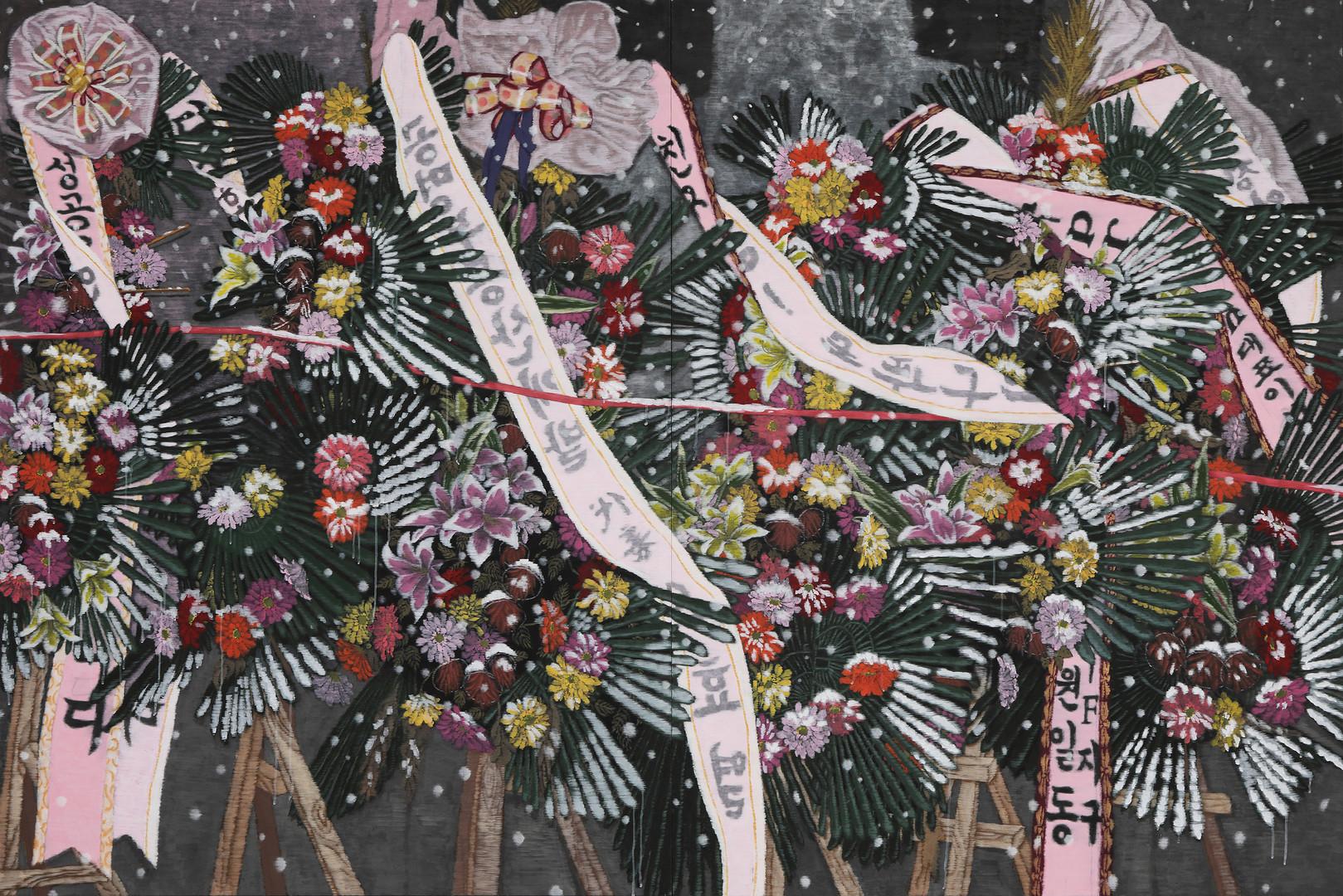 재생되는 꽃 (Reclaimed Flower), 200x300cm, 장지에 채색, 2017