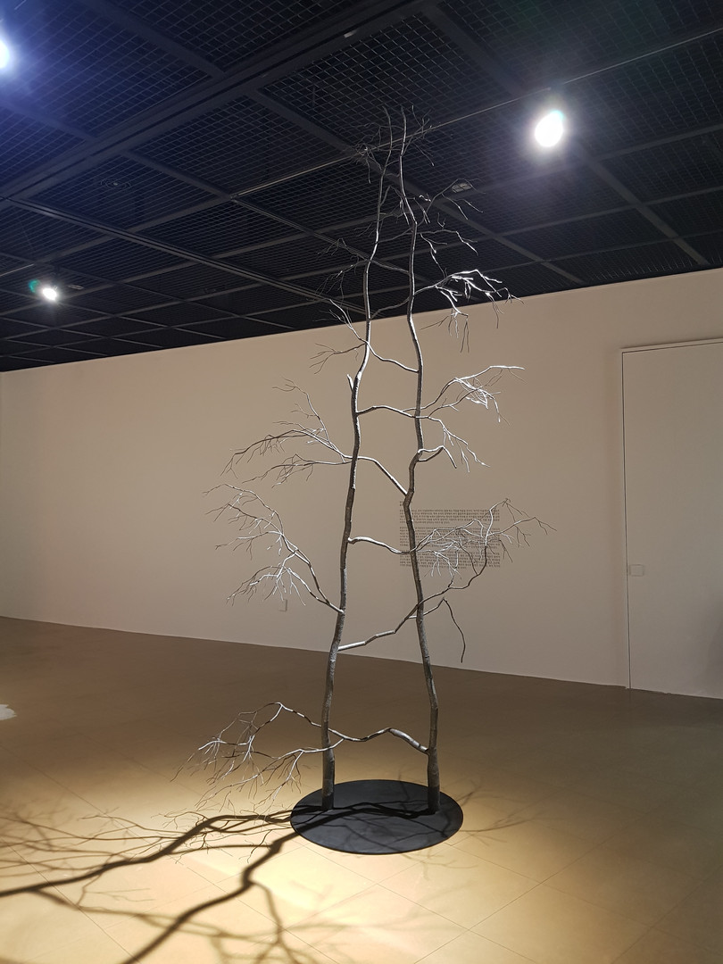 A form of modesty 2, stainless steel, painted steel, 330x170x170cm, 2018