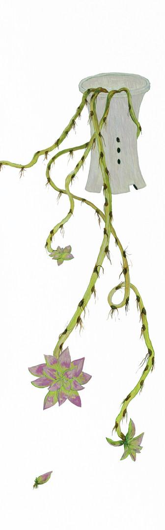 병충해-공중뿌리, 나무 위에 아크릴 물감, 75x25cm, 2016