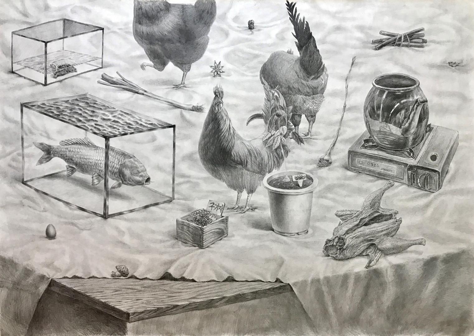 2용과봉황이 있는 풍경, 135X165cm, 장지에 연필, 2017