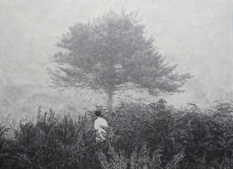 막다른 길 한지에 목탄, 140x190cm, 2018