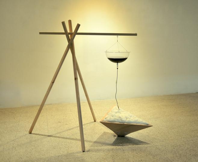 침투(infiltration), veneer, lumber, cotton, mix media, installation, 2014