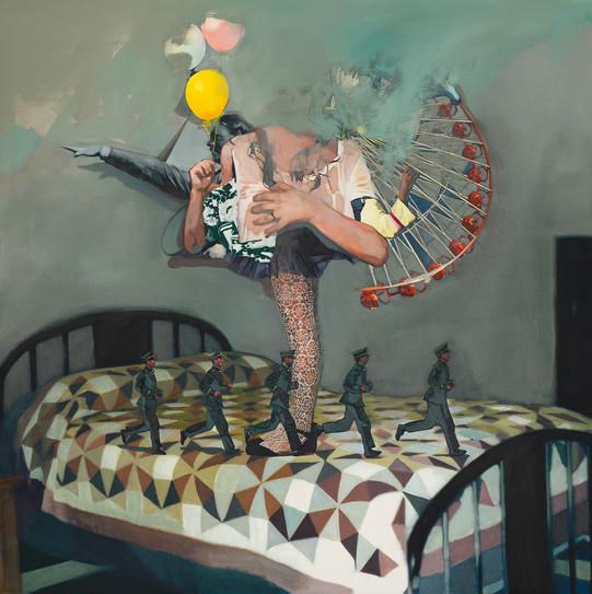 Room. X. 8904, 120 x 120cm, 천 위에 아크릴, 유화, 부분 폴리 실크 스크린, 2015