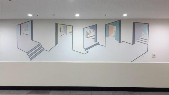 wall painting, 교하도서관 벽화, 2014, 지하1층 보존서고 앞