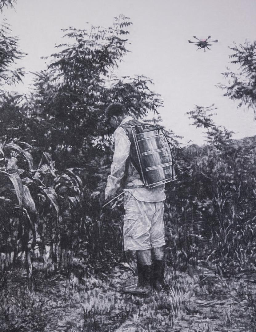 옥수수밭 장지에 목탄, 165x130cm, 2018, 포항시립소장