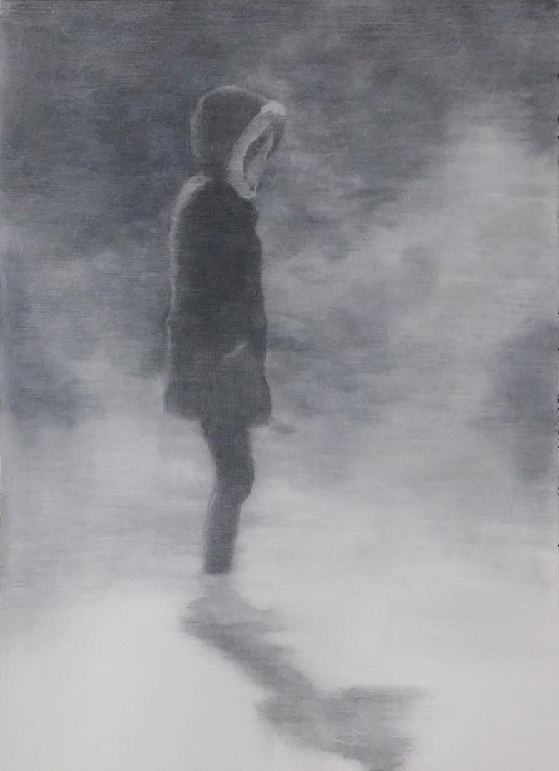 산책, conte on  paper, 76x56cm, 2015