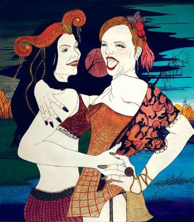 여인들, 85x75cm, 종이 위에 혼합매체, 2012