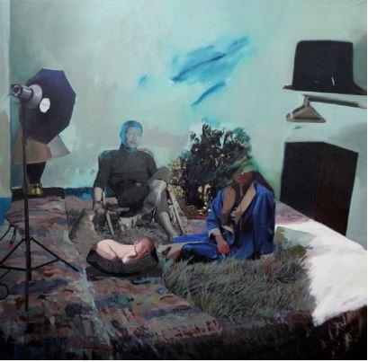 Room. V. 6810, 120 x 120cm, 천 위에 아크릴, 유화, 부분 폴리 실크 스크린, 2015