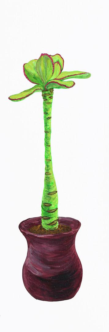 병충해-웃자람, 나무 위에 아크릴 물감, 75x25cm, 2016