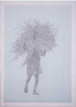건초더미를 들고있는 사람1, 판화지에 아크릴, 흑연, 109.5x79.5cm, 2018