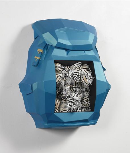 Bag-zebra, 52x62x25cm, Veneer, mix media, 2012
