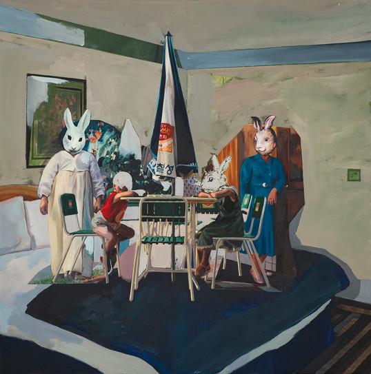Room. E. 8508, 120 x 120cm, 천 위에 아크릴, 유화, 부분 폴리 실크 스크린, 2015