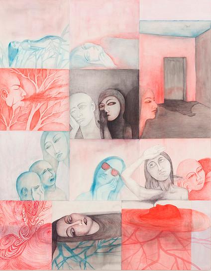 의식하는것과 하지못하는것, 종이위에펜 청묵 잉크펜, 116x91cm, 2014