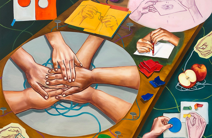 엉킨 실타래(A  tangled thread), oil on canvas, 112.1x145.5cm, 2018