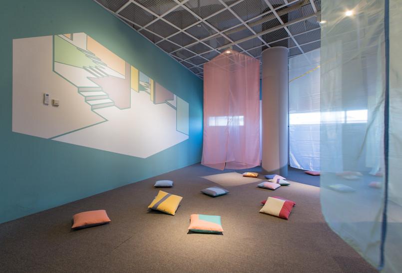 솔솔 색깔바람 (Color of the Wind), wall painting&fabric installation, variable installation, 2017, 어린이박물관 전시